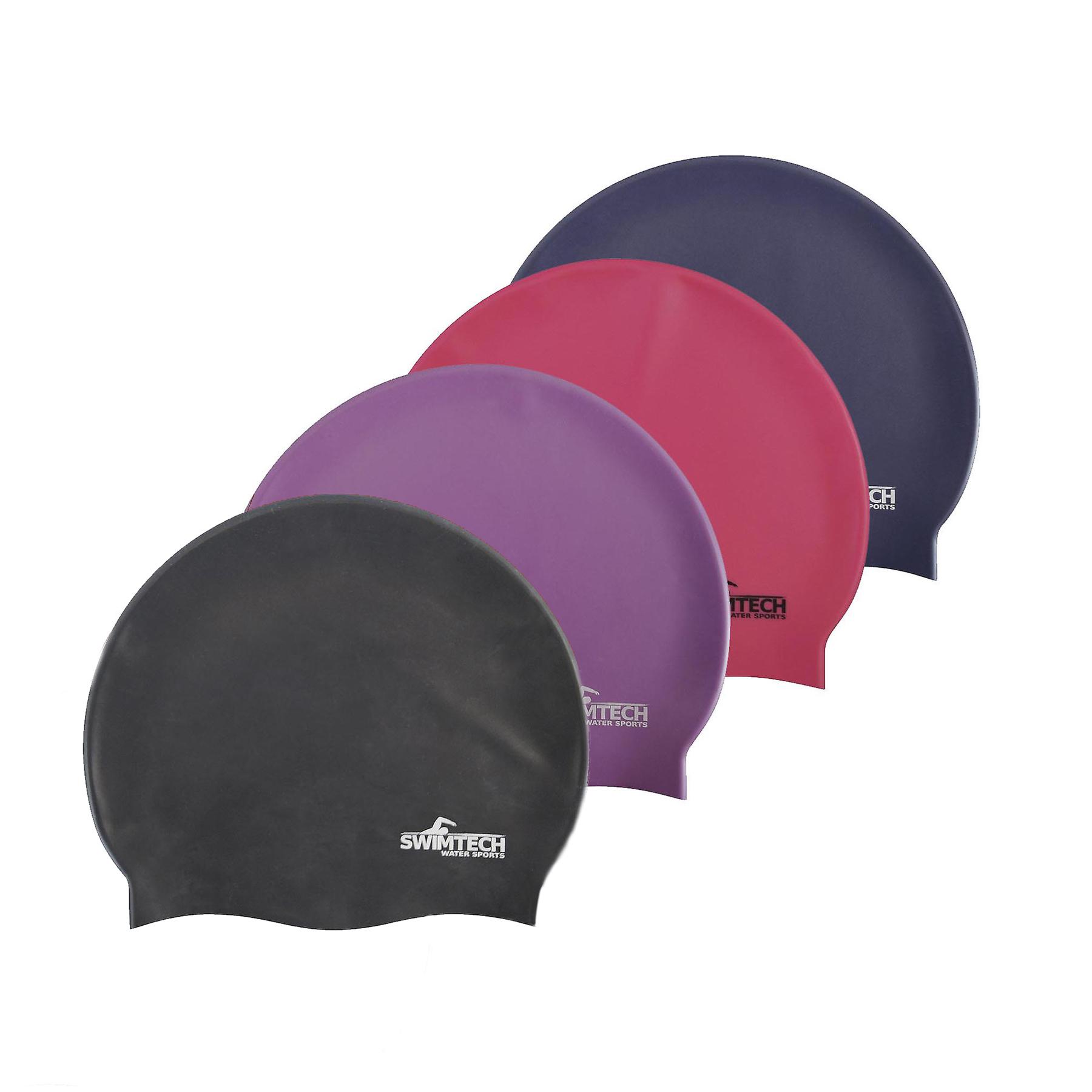 SwimTech Water Sports Silicone Swim Cap • One Size • Black
